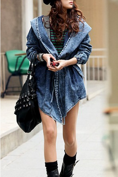 Pure Color Long Sleeve Denim Coat