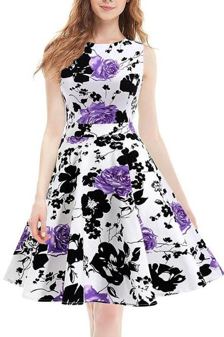 Hot Style Round Collar Large Printed Dress
