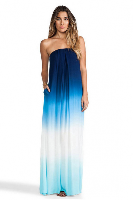 New Strapless Gradient Chiffon Beach Dress