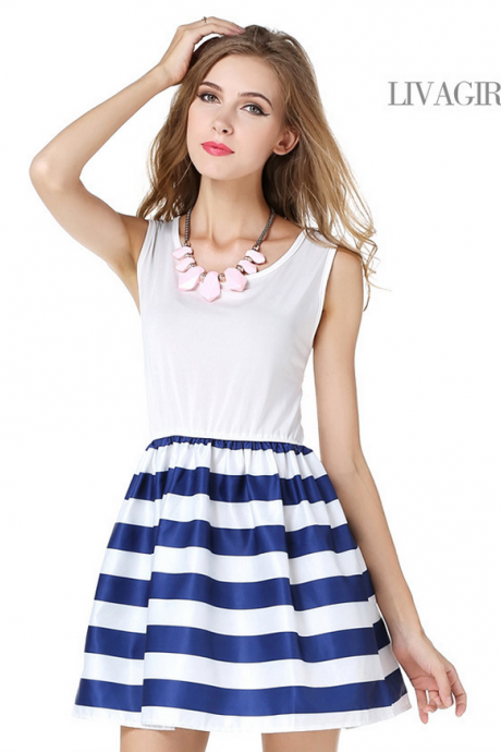 Navy Joining Together Sailor Stripe Cotton Dress