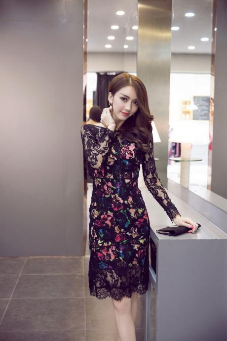 Sexy Round Collar Backless Long Sleeve Lace Dress