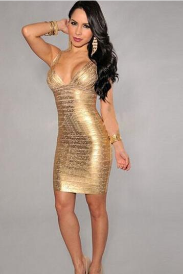 Sexy Low Cut Deep V-Neck Sleeveless Bodycon Dress