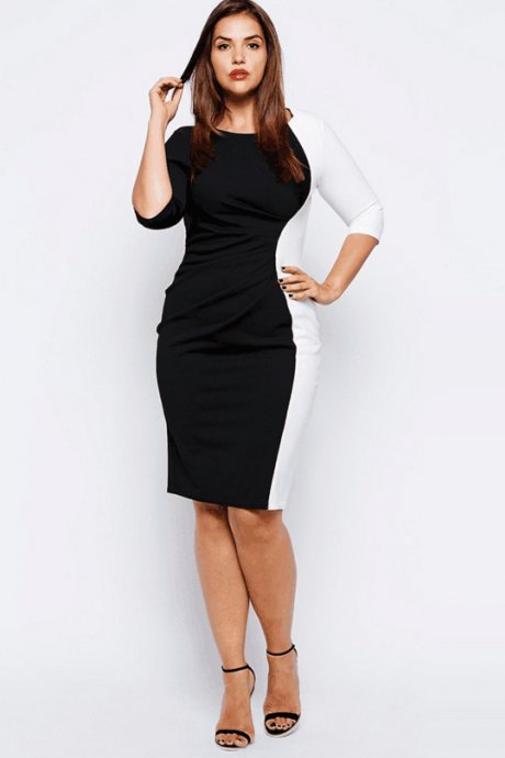 Sexy Three Quarter Sleeve Bodycon Dress