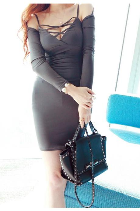 Sexy Long Sleeve V-Neck Backless Bodycon Dress
