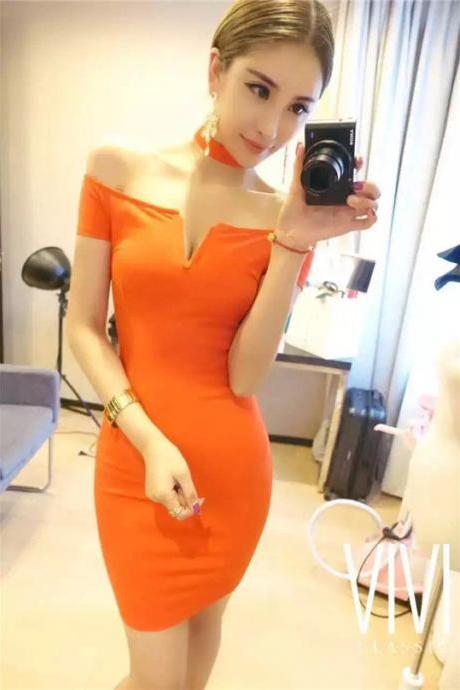 Off Shoulder V-Neck Show Thin Low-Cut Bodycon Dress