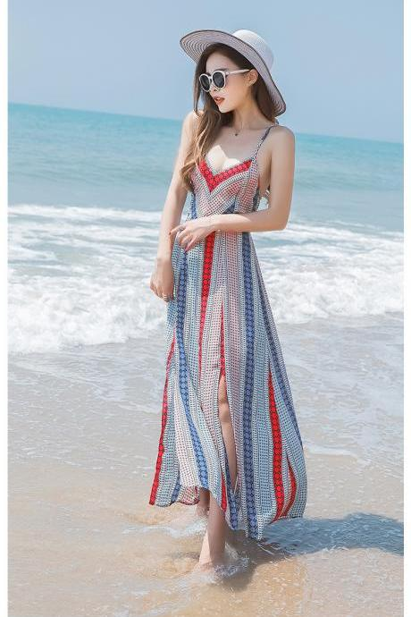 Bohemia Stripe Print Backless Beach Chiffon Dress