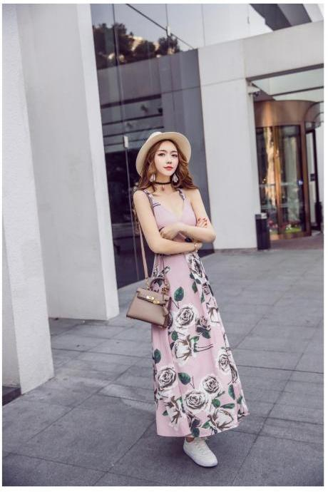 Rose Print Plunge V Shoulder Strap Maxi Dress Featuring Criss-crossed Open Back