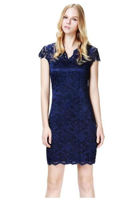 Elegant Hollow Out Show Thin V-Neck Lace Dress