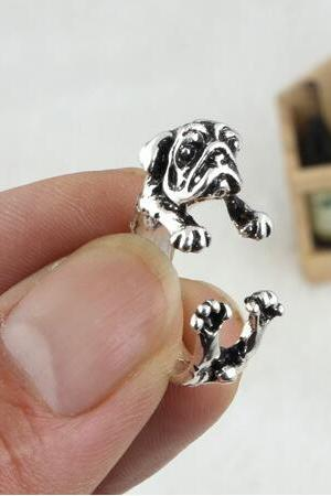 Adjustable Cute Pug Animal Restoring Ancient Ways Ring
