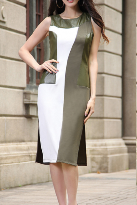 New Summer PU Leather Sleeveless Bodycon Dress