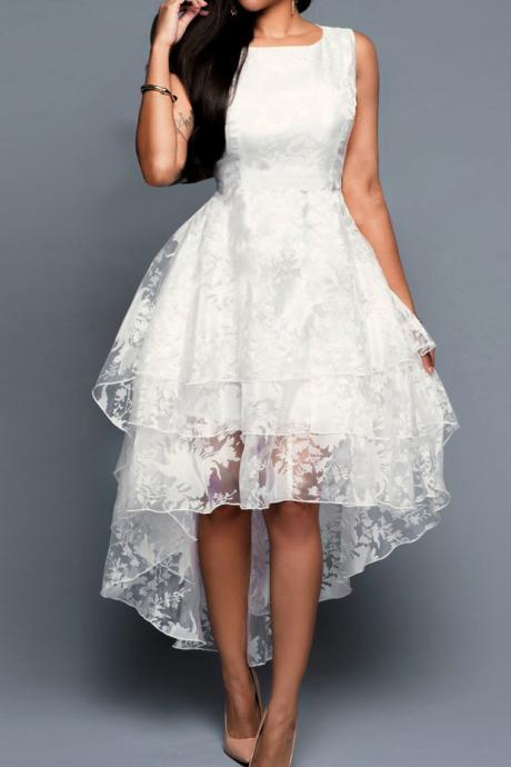 Western-Style Sleeveless Cotton Organza Vest Dresses