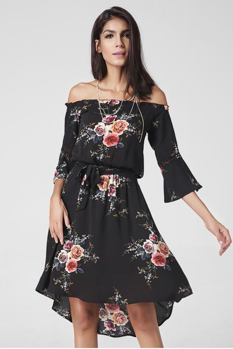 Floral Print Off-The-Shoulder Half Flared Sleeves Knee Length High Low Dress Featuring Tie Waist