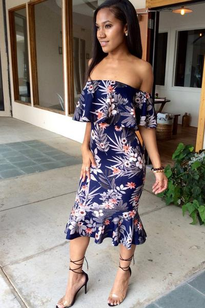 Print Off Shoulder Strapless Bodycon Tee-length Dress