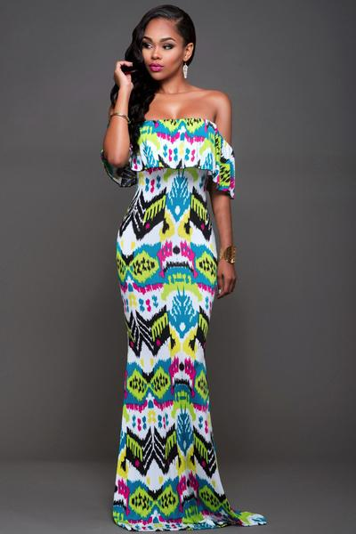Off Shoulder Print Strapless Long Dress