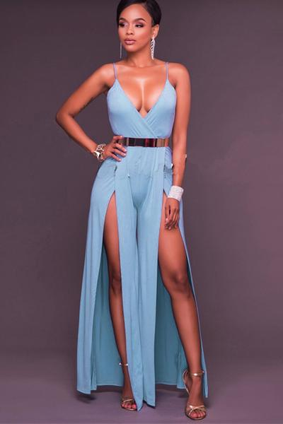 Spaghetti Straps V-neck Backless Long Jumpsuit