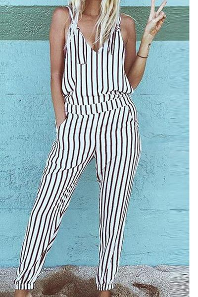 Spaghetti Straps Striped V-neck Long Jumpsuit