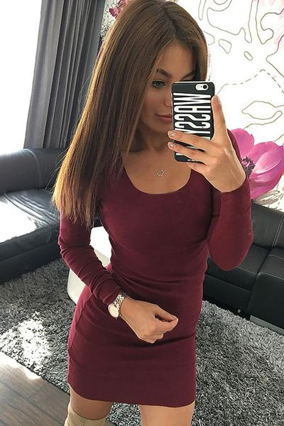 Simple Long Sleeves High Neck Short Dress