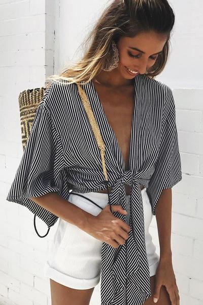 Black White Striped Half Sleeved Plunge V Tie Front Blouse