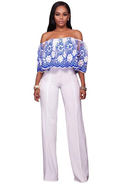 Flower Print Off Shoulder 3/4 Sleeves Long Jumpsuit