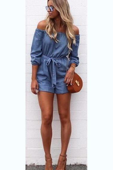 Pure Color Off Shoulder 3/4 Sleeves Short Jumpsuit
