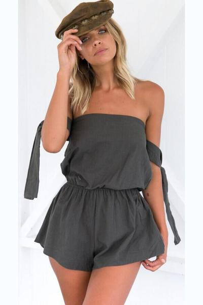Pure Color Strapless Sleeveless Short Jumpsuit