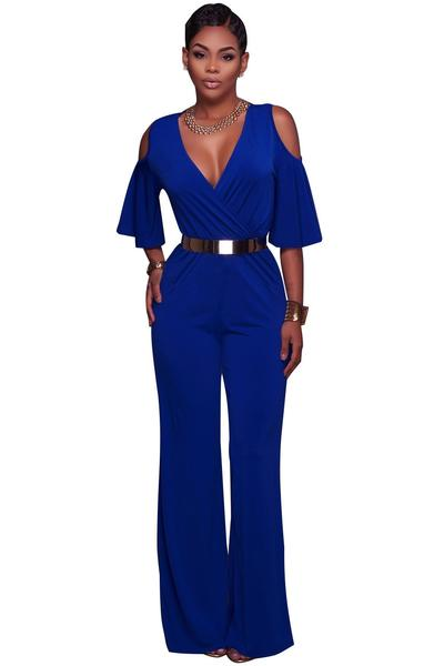 Pure Color V-neck High Waist Short Sleeves Long Jumpsuit