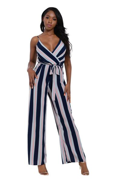 Striped Spaghetti Straps Wide Leg Long Jumpsuit