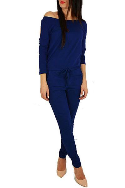 Pure Color Big Neckline Long Sleeves Long Jumpsuit