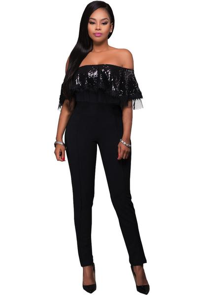 Strapless Short Sleeves Sequins Ruffles Slim Long Jumpsuit