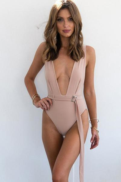 Deep V-neck Tank Pure Color Short Jumpsuit