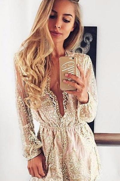 Shinning Deep V-neck Long Transparent Sleeve Short Sequins Jumpsuit
