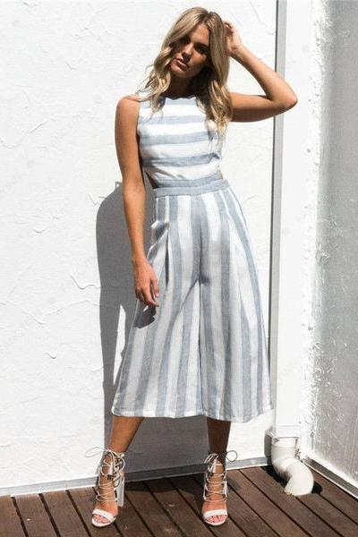 Sleeveless Striped Wide-Leg Tea-Length Jumpsuit