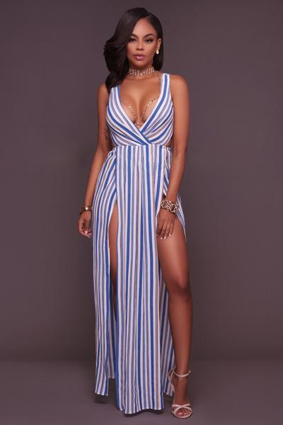 Straps Deep V-neck Open Back Split Long Stripe Loose Jumpsuit
