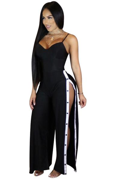 Spaghetti Straps Sleeveless Split Loose Long Jumpsuit