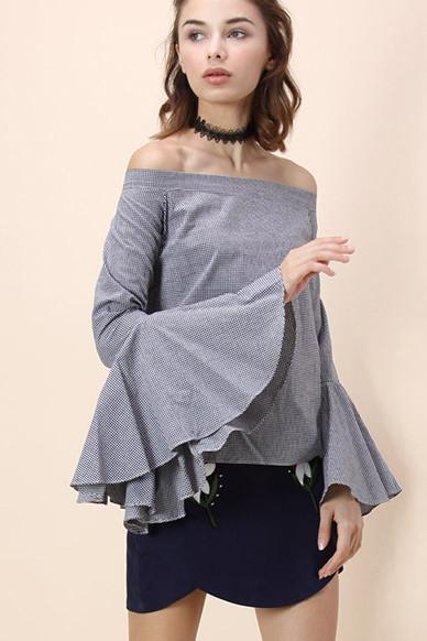 Off Shoulder Pure Color Long Trumpet Sleeve Loose Blouse
