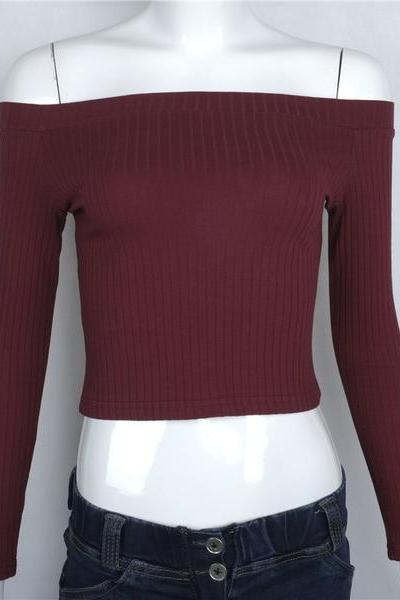 Ribbed Knit Off-The-Shoulder Long Sleeved Cropped Top