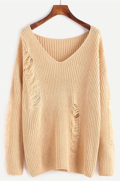 Pure Color Hole Long Sleeves V-neck Loose Sweater