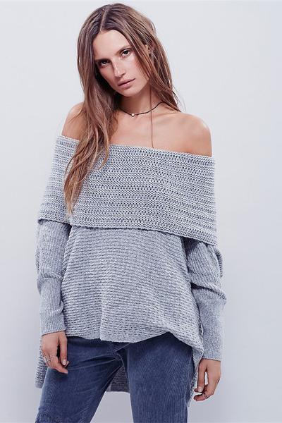 Off Shoulder Pure Color Long Sleeves Long Sweater