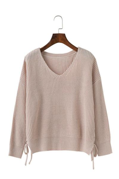 Knitted Lace-Up Side Plunge V Long Cuffed Sleeves Sweater