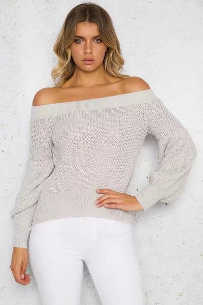 Off Shoulder Pure Color Long Puff Sleeves Sweater