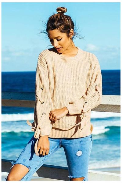 Lace-Up Sleeved Knitted Crew Neck Sweater