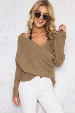 Long Sleeves Drap V-neck Pure Color Regular Sweater