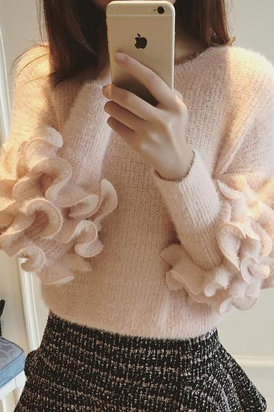 Pure Color Flowers Long Sleeves Scoop Regular Sweater