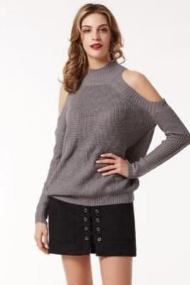 Knitted Mock Neck Cold Shoulder Long Sleeved Sweater