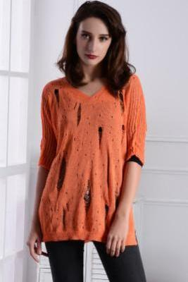 Cut Out Half Sleeves Pure Color Loose Long Sweater