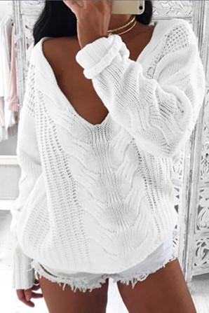 Large V-neck Pure Color Long Sleeves Regular Sweater
