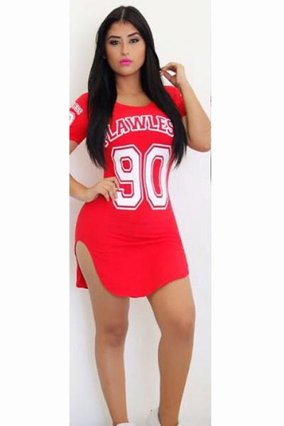 Letter Print Short Sleeves Split Bodycon Short Dress