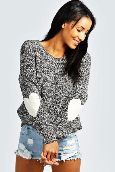 Scoop Long Sleeves Print Regular Sweater