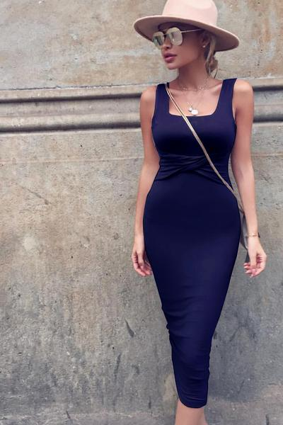 Straps Square Open Back Bodycon Knee-length Dress