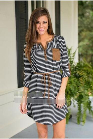 V-neck Striped Half Sleeves Loose Short Dress
